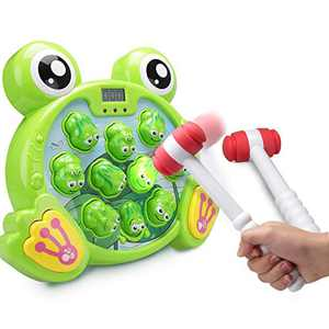 FS Interactive Whack A Frog Game, Durable Pounding Toy, Early Developmental Toy, Helps Fine Motor Skills, Great Gift for Age 3, 4, 5, 6, 7, 8 Years Old Kids, Boys, Girls, 2 Hammers Included
