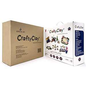 Crafty Clay Air Dry Modeling Kit for Kids - Soft Sculpting Airdry Multi Colored Clay - 27 x Molding Tools & Accessories - Non Greasy & Self Drying - Complete Art Set for Children with 120 Projects