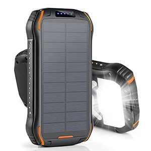 Solar Charger Power Bank 26800mAh Portable Phone Charger Fast Charging QC 3.0 15W PD 15W, Solar Power Bank with 3 Outputs Ultra Bright Flashlight Battery Pack for iPhone Android Cell Phones