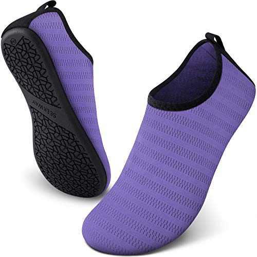 SEEKWAY Water Shoes Women Men Adult Quick-Dry Aqua Socks Barefoot Non Slip for Beach Swim River Pool Lake surf Purple SK002(U) 8.5-9.5 Women/7.5-8.5 Men