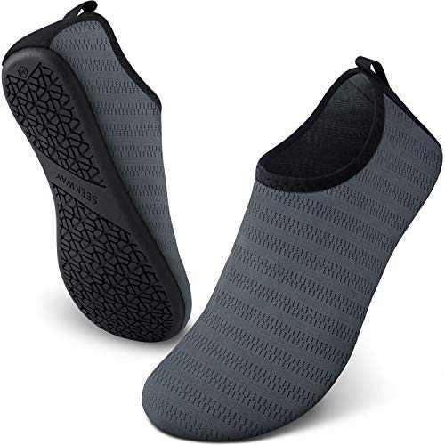 SEEKWAY Water Shoes Women Men Adult Quick-Dry Aqua Socks Barefoot Non Slip for Beach Swim River Pool Lake surf Grey SK002(U) 5-6 Women/3.5-4.5men