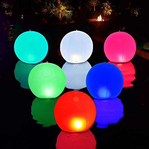 Esuper Swimming Pool Lights Floating Ball Light Solar Powered 1 PCS, 14 Inch Inflatable IP68 Waterproof Color Changing Led Glow Globe Pool Night Lamp for Garden, Pond, Party Backyard(Updated Version)
