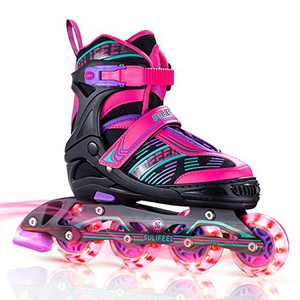 Sulifeel Arigena 4 Size Adjustable Light up Inline Roller Skates for Girls and Boys, Roller Blades for Kids and Women Adults Red Purple Green - Small(11C-1Y US)
