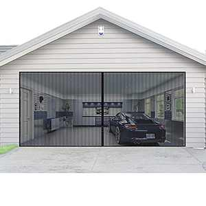 Magnetic Garage Door Screen for 2 Car 16x7 ft Double Door Mesh with Hook and Loop Tape, Heavy Duty Retractable Fiberglass Screen Door Self Sealing Magnetic Closure