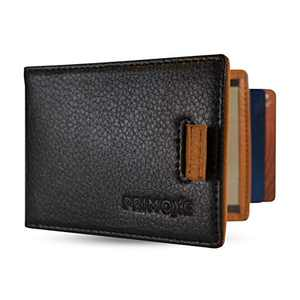 Primoxe Mens Modern Bifold Minimalistic Slim Pocket Wallet - Durable Vegan Leather with a Minimalist Design - Credit Card Pull Tabs, Removable Metal Money Clip, Card & ID Holder with RFID Blocking
