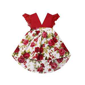 Toddler Baby Girl 2Pcs Romper + Headband Floral Sleeveless Lace Infant Newborn Jumpsuit Sets (1-2 Years, Red - Dress)