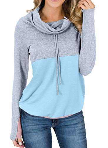 Actloe Women Cowl Neck Drawstring Color Block Long Sleeve Sweatshirt Pullover Tops Color-9 Small