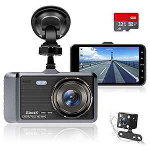 Dash Cam,Abask Dash cam Front and Rear with 32G SD Card Included,4 inch Dash Camera for Cars, 1080P,170° Wide Angle,Night Vision WDR G-Sensor Parking Monitor Loop Recording Motion Detector