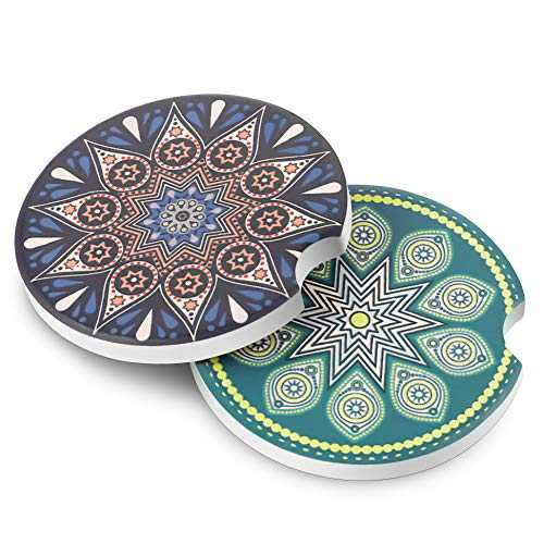 LIFVER Car Coasters for Cup Holders Absorbent,Car Cup Holder Coasters,Mandala Style Auto Coaster for Car, Keep Your Car Clean and Dry,2.56 Inch, 2 Packs