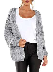 Dokotoo Womens Oversized Fashion 2020 Ladies Winter Fall Thin Cozy Open Front Long Sleeve Chunky Cable Knitting Ribbed Cardigan Sweater Pullover Coats Jacket Outerwear Grey Medium