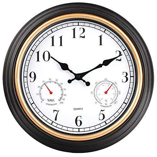 HYLANDA 12 Inch Indoor/Outdoor Retro Silent Non Ticking Wall Clock with Thermometer&Hygrometer Combo, Decorative Wall Clocks Battery Operated for Kitchen Home Bathroom Patio(Black Gold)