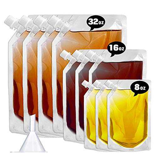 Cruise Liquor Flask Kit for Travel,Concealable and Reusable Rum Runner Alcohol Juice Travel Plastic Liquor Bags for Sneak Drink-4 x 32 oz + 3 x 16 oz + 3 x 8 oz + 1 funnel