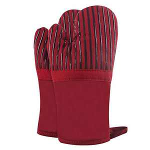 Joyhalo Oven Mitts Quilted Cotton Lining - Heat Resistant to 500 Degrees Kitchen Gloves for Safe Baking Cooking (Wine, Cotton)