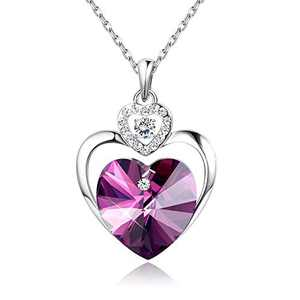Sllaiss Love Heart Pendant Necklace with Crystals from Austria Mother Necklace Jewelry Gift for Women Girls