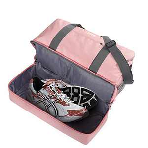 Gym Bag Shoes Compartment Shoulder Bag Travel Duffel Bag Swim Bag for Women and Men (Pink XL)