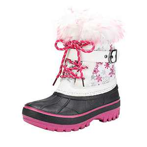 DREAM PAIRS Girls Faux Fur-Lined Insulated Waterproof Winter Snow Boots Kriver-3 White Fuchsia Size 12 Little Kid