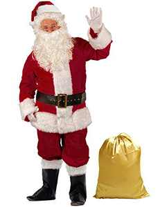 Takuvan Men's Deluxe Santa Suit 10pc. Christmas Ultra Velvet Adult Santa Claus Costume XL