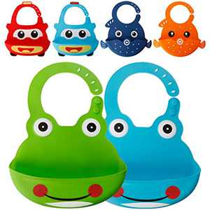 Waterproof Silicone Bib for Babies & Toddlers, Comfortable Soft Baby Bibs for Girls and Boys, 6-72 Months, 2-Pack (2-Blue/Green Frog)