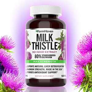 FarmHaven Milk Thistle Capsules, Max Strength 30:1 Concentrated Extract with 80% Standardized Silymarin, Natural Supplement Promotes Liver Health, Non-GMO, Made in USA - 120 Vegetable Capsules