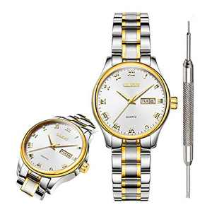 OLEVS Classic White Watches for Women Waterproof Inexpensive Analog Quartz Wrist Watches for Women Calendar 2020 Couple Valentines Day Gifts for Women
