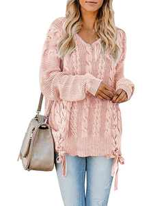 YeMgSiP Womens Plus Size Cable Knit Pullover Sweaters Oversized Chunky V Neck Long Sleeve Ribbons Up Side Jumper Tops Light Pink
