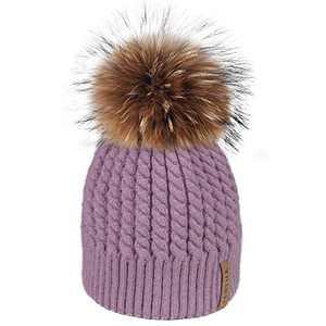 FURTALK Winter Beanie Hats for Women Womens Warm Knit Fur Bobble Pom Pom Hat (Fog Purple)