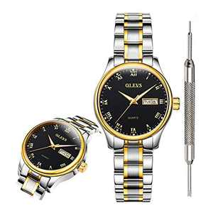 OLEVS Black Fashion Watches for Women Waterproof Inexpensive Analog Quartz Wrist Watches for Women Stainless Steel Calendar Day Date Watch 2020 Valentines Day Gifts for Women