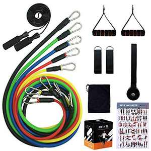 Beakabao Sports Resistance Band Set - Includes Bands, Handles, Ankle Straps, Door Anchors, Guides and Bag, Free Skipping Rope - for Physical Training, Weight Loss, Home Exercise, Yoga, Pilates