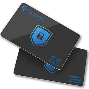 TICONN RFID Blocking Cards - 2 Pack, Premium Contactless NFC Debit Credit Card Passport Protector Blocker Set for Men & Women, Smart Slim Design Perfectly fits in Wallet/Purse (2)