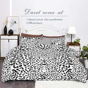 Eternal Moment Duvet Cover Set 3 Piece Set, Brushed Microfiber Hotel Collection Ultra Soft, Comforter Cover with Zipper Closure and 2 Pillowcases, Leopard-Twin