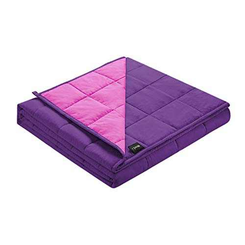 ZonLi Cooling Weighted Blanket 15 lbs (60''x80'', Pink/Purple), Cooled Weighted Blanket for Adults, Soft Material with Glass Beads, Gift for Your Loved