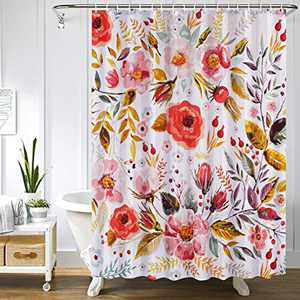 Uphome Floral Stall Shower Curtain for Bathroom Small Colorful Spring Flower Cloth Shower Curtain Set with Hooks Chic Rose Bathroom Accessories Decor and Heavy Duty,36x72