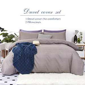 Eternal Moment 100% Polyester 3pc Duvet Cover Set (No Comforter) - Plaid Pattern Bedding Sets with Zipper and Corner Ties, Soft and Durable Comforter Cover, Grey Plaid-Queen