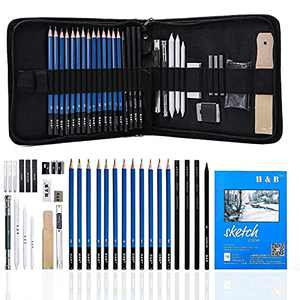 Art Supplies, Graphite Drawing Pencils and Sketch Set, Professional Artist Drawing Kit Includes Charcoal Pencils, Graphite Pencils, Sticks, Sharpeners, Erasers and Sketchbook