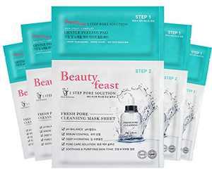 BEAUTYFEAST 2Step Pore Solution Facial Mask Sheet 1box (5pads+5sheets), Gentle peeling pad, Hydration mask