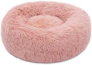 "Plush Donut Pet Bed,Dog Cat Round Warm Cuddler Kennel Soft Puppy Sofa,Luxury Cat Cushion Bed Sleeping Bag Orthopedic Relief and Improved Sleep,Anti-Slip Bottom,Machine Washable (M-19.7"" x 7.9"", Pink)"