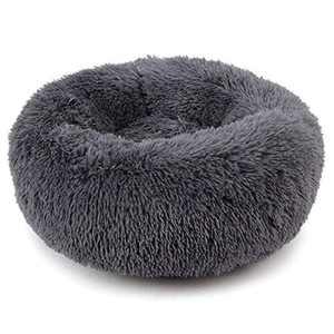 "Plush Donut Pet Bed,Dog Cat Round Warm Cuddler Kennel Soft Puppy Sofa, Cat Cushion Bed Sleeping Bag Orthopedic Relief and Improved Sleep,Anti-Slip Bottom,Machine Washable (M-19.7"" x 7.9"", Dark Grey)"