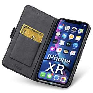 Aunote iPhone XR Cases Wallet, iPhone XR Cases with Card Holder, Ultra Slim Flip Folio PU Leather iPhone XR Phone Case, Full Protective Cover XR iPhone Case for Apple 2018 6.1 inch Phone. Black