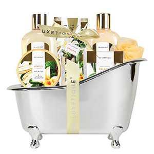Spa Gift Basket, Spa Luxetique Bath Sets for Women, Vanilla Scented Spa Gift Baskets for Women, Luxury 8 Pcs Home Bath Set Includes Body Lotion, Bath Bombs, Bath Salt, Best Gift Set for Women.