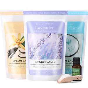Spa Luxetique Epsom Salt, Epsom Bath Salt Soaking, Bath Salts Gift Set with Wooden Scoop, Tea Tree Oil Foot Soak, Relaxing Bath Salts for Women or Men