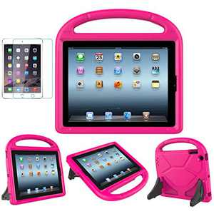 MOXOTEK Kids Case for iPad 2/3/4 (9.7 inch,2011/2012), Durable Lightweight Shockproof Protective Handle Stand Bumper Cover with Screen Protector for Apple iPad 2nd,3rd,4th Generation, Pink