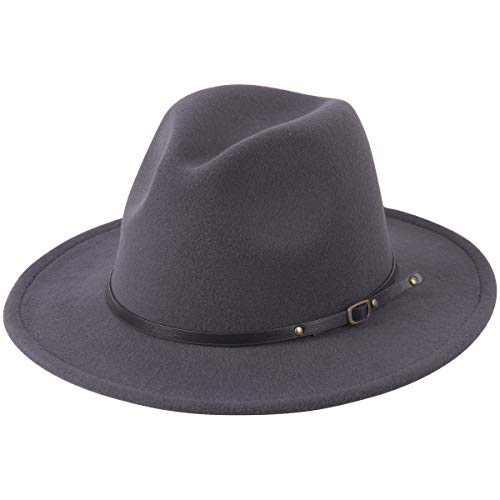 Lanzom Women Lady Retro Wide Brim Floppy Panama Hat Belt Buckle Wool Fedora Hat (One Size, Dark Grey)
