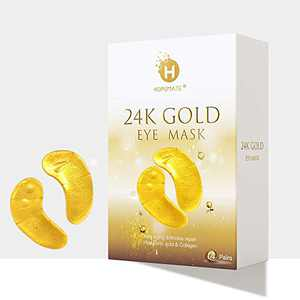 Eye Patches, HOPEMATE Under Eye Mask, 24K Gold Eye Treatment Mask, Dark Circles Gel Pads, Under Eye Bags Treatment, Eye Mask for Puffy Eyes, Anti-Wrinkle Undereye Dark Circles, 14 Pairs