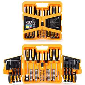 "STEELHEAD 63-Piece Magnetic Screwdriver Bit & Socket Set, (36) Hex, Phillips, PZ, Slot, Square, Star Bits, (13) Phillips & Slotted Precision Screwdrivers, (9) 1/4"" Metric Sockets, USA-Based Support"