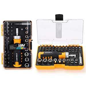 "STEELHEAD 42-Piece Ratcheting Magnetic Screwdriver Bit & Socket Set, (4) Hex, (6) Phillips, (5) Slot, (4) Square, (7) Star, (9) 1/4"" SAE & Metric Sockets, Handle Bit Storage, USA-Based Support"