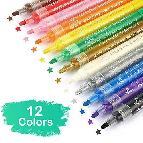 Acrylic Paint Marker Pens Set of 12 Colors for Rocks Painting, Ceramic, Glass, Wood, Fabric, Canvas, Mugs,Photo Album, DIY Craft, Scrapbooking Craft, Card Making (12 Colors)