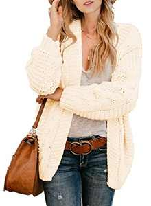 Actloe Women Open Front Chunky Knit Long Sleeve Cardigan Casual Outwear Plus Size Cream XX-Large
