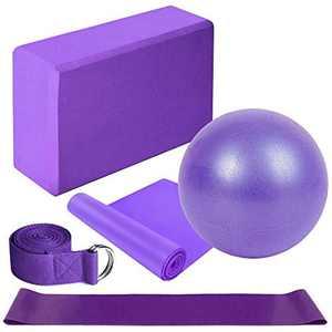 Lixada Yoga Starter Kit 5pcs Yoga Equipment Set with Yoga Blocks Yoga Ball Stretching Strap Resistance Loop Band Exercise Band