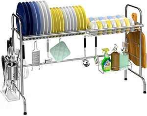 Over the Sink Dish Drying Rack, Veckle Large Dish Rack Stainless Steel Dish Drainer Easy Install Non-Slip Dish Dryer Utensil Holder, Cutting Board Holder Kitchen Sink Shelf Storage Rack