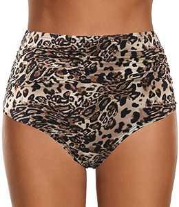 Keedak Women's High Waisted Swim Bottom Ruched Vintage Retro Bikini Swimsuit Briefs (S,K1-Leopard)